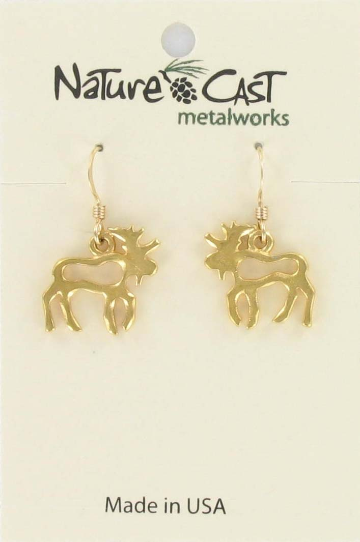 Earring dangle petro moose gold tone MAIN