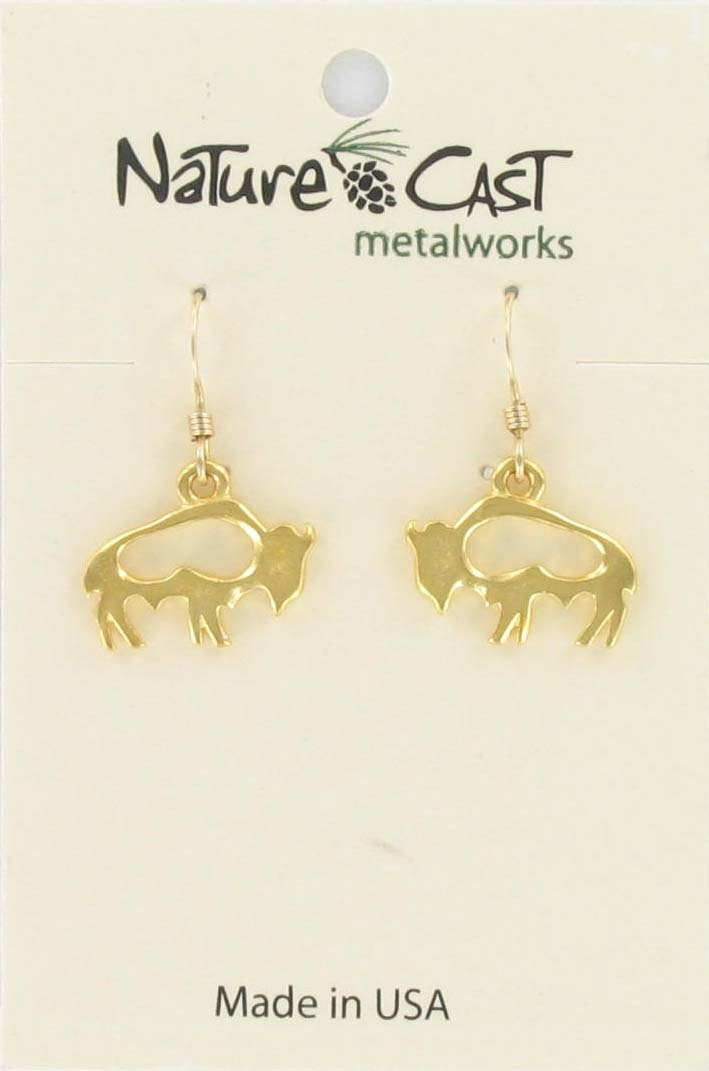 Earring dangle petro bison gold tone