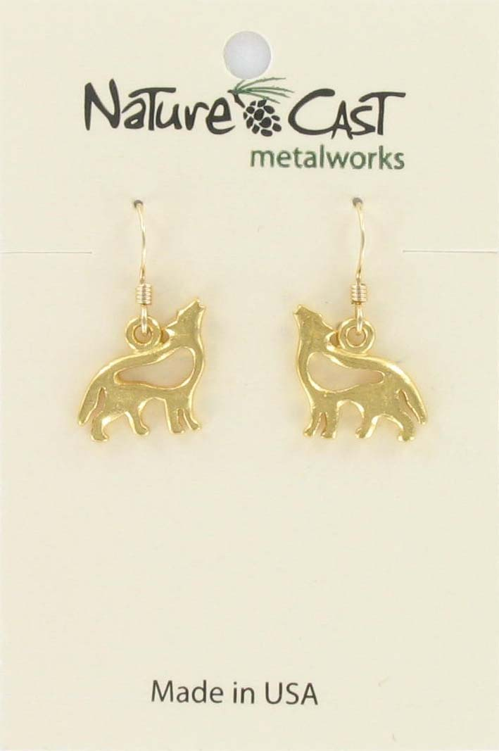 Earring dangle petro wolf gold tone THUMBNAIL