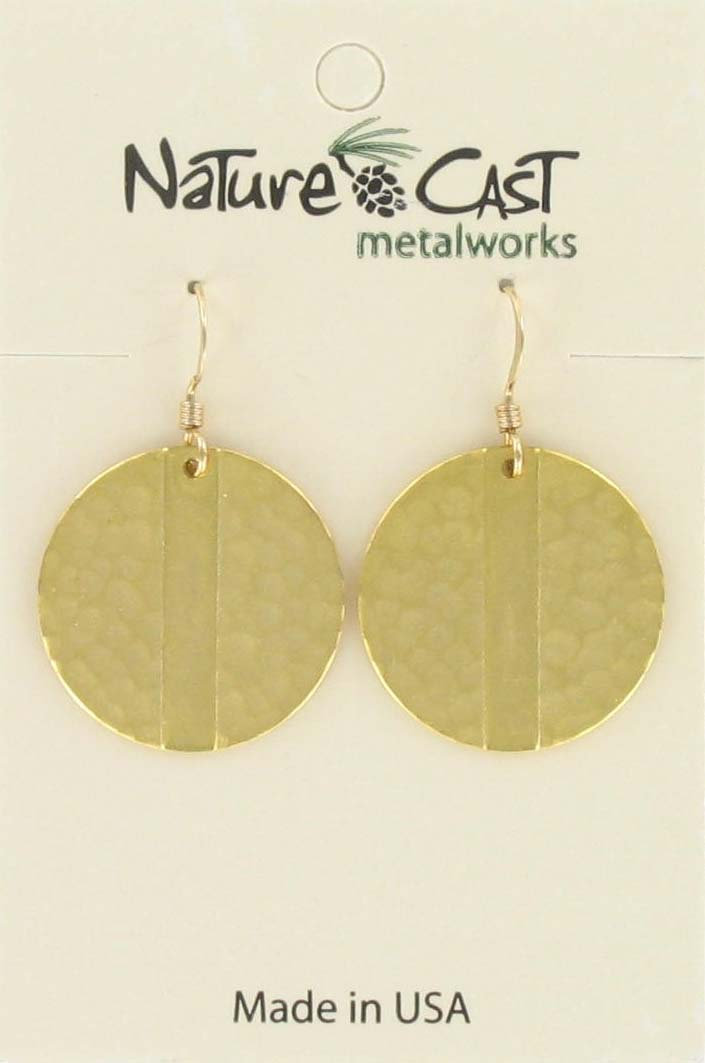 Earring dangle gold disc w/stripe gold plate