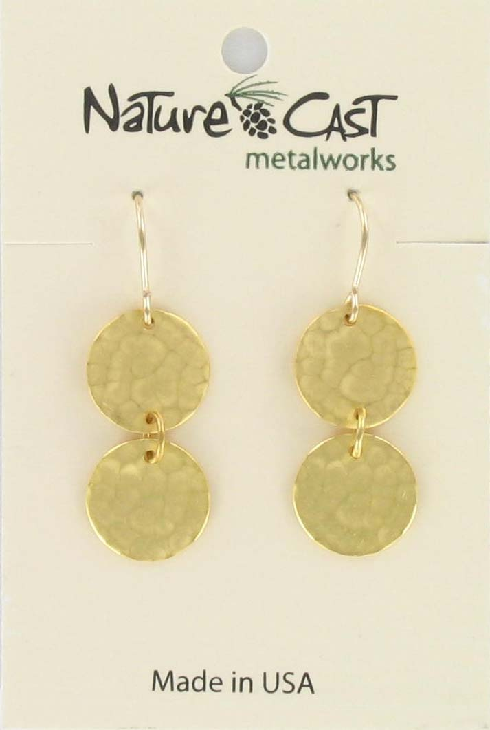 Earring dangle 2 hammered circles gold plate