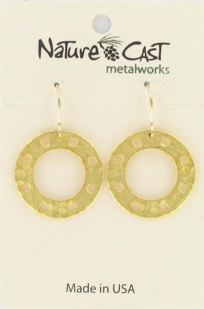 Earring dangle open circle w/cutout squares gold plate