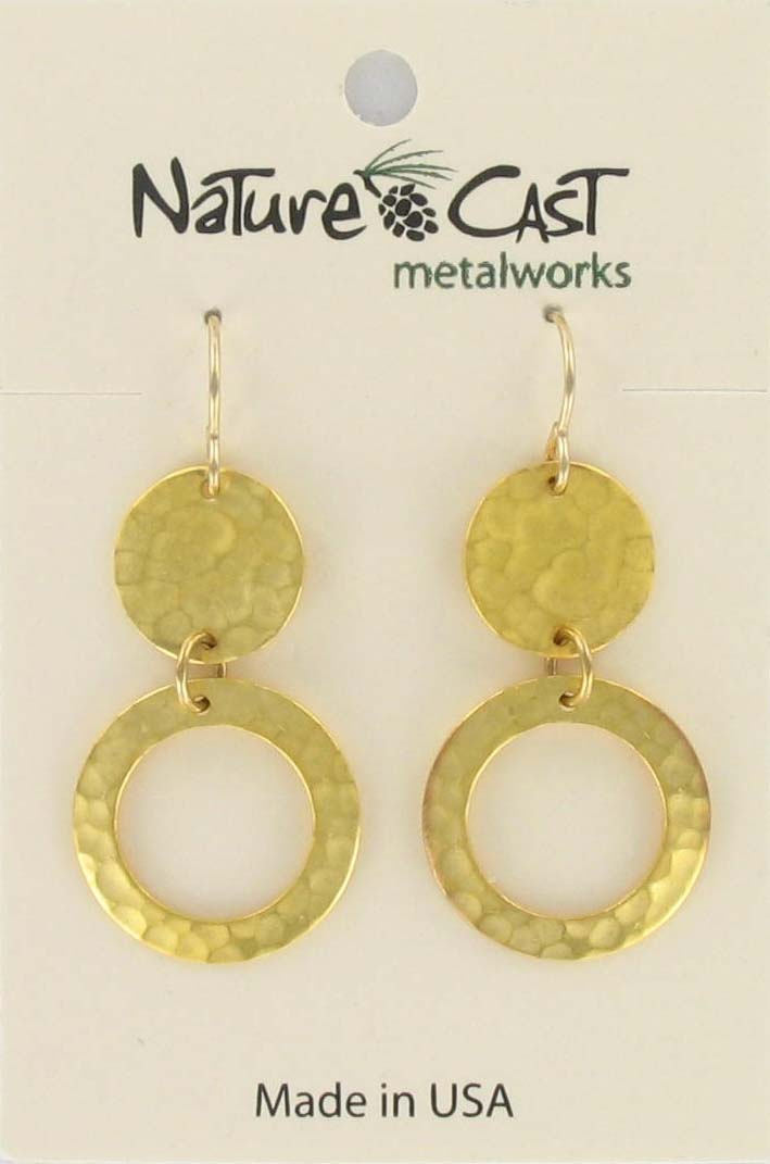 Earring dangle open circle w/ hammered disc gold plate