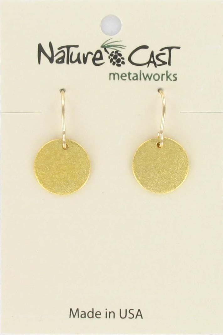Earring dangle 12mm textured disc gold plate