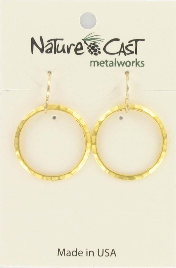 Earring dangle 20mm open circle hammered gold plate THUMBNAIL