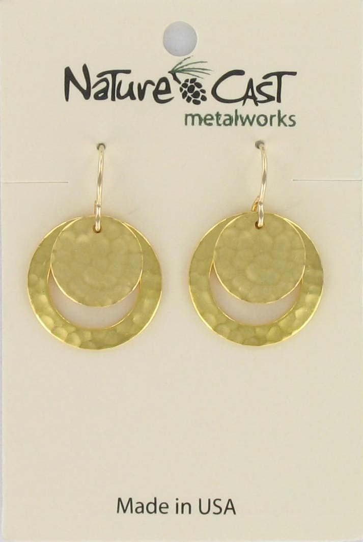 Earring dangle hammered disc and circle gold plate