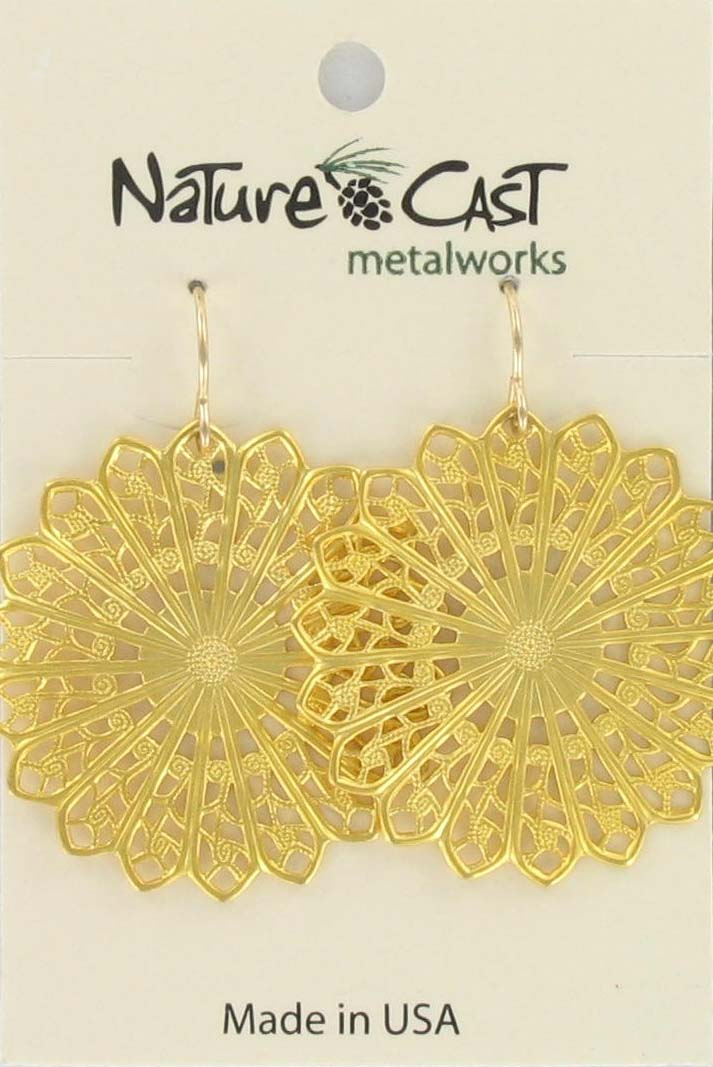 Earring dangle filigree circle gold plate