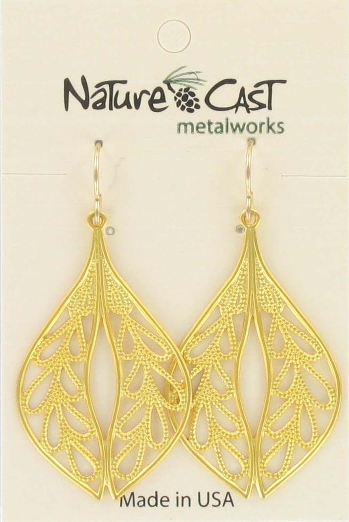 Earring dangle filigree oval leaf gold plate THUMBNAIL