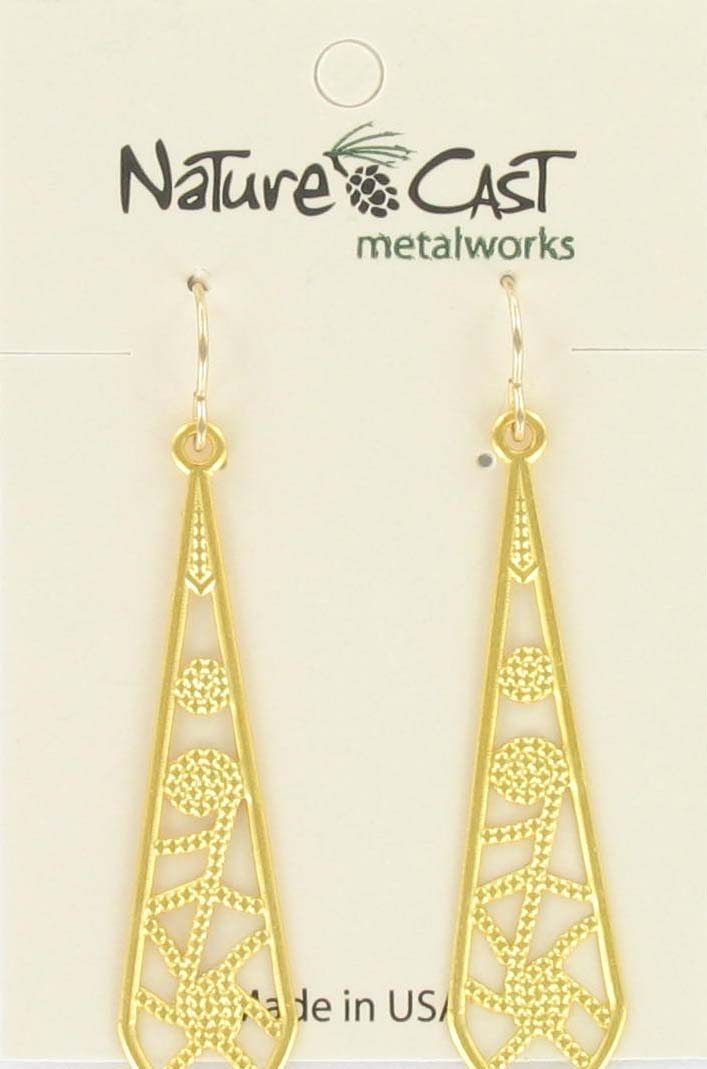 Earring dangle filigree long drop gold plate