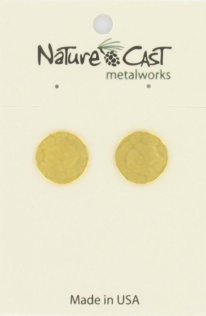 Earring post hammered circle gold plate