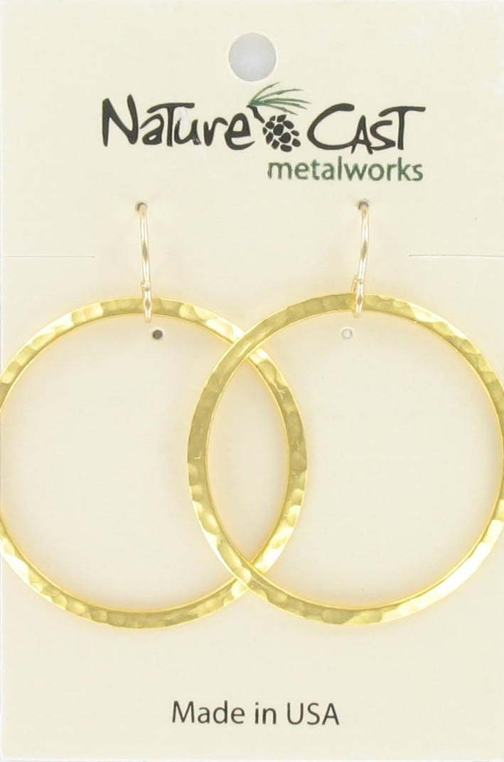 Earring dangle hammered 33mm circle gold plate