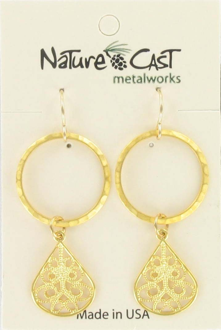 Earring dangle circle with filigree teardrop gold plate
