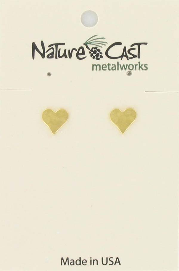 Earring post hammered heart gold plate THUMBNAIL