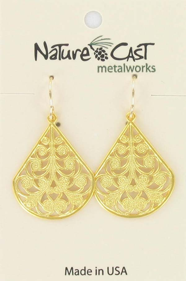 Earring dangle filigree teardrop w/ spirals gold plate