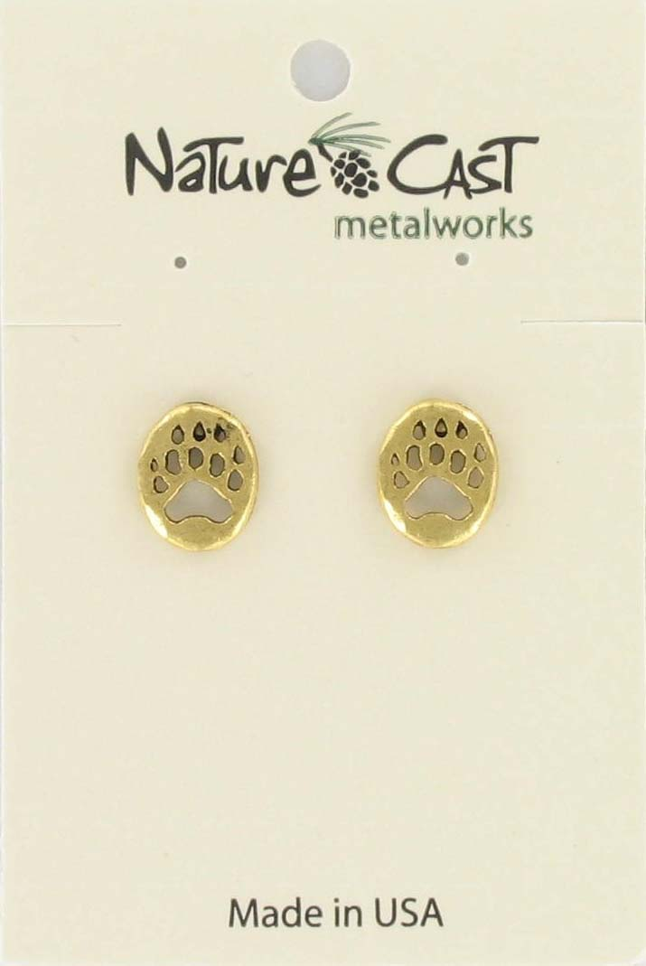 Earring  post bear paw gold tone_THUMBNAIL