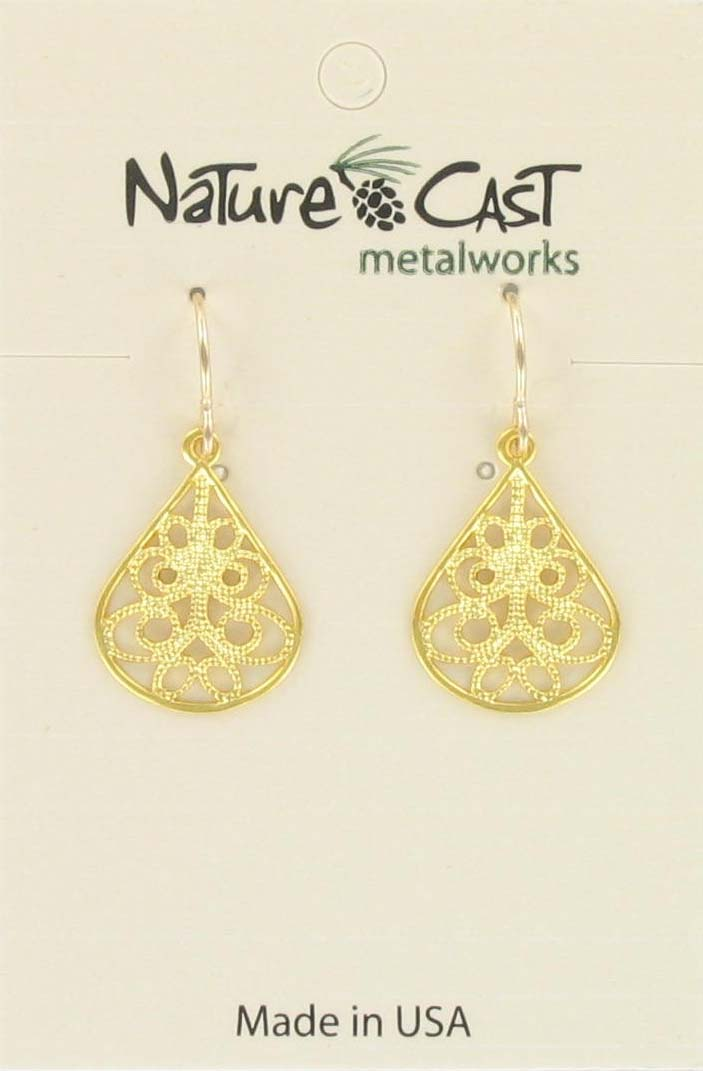 Earring dangle small filigree teardrop gold plate THUMBNAIL