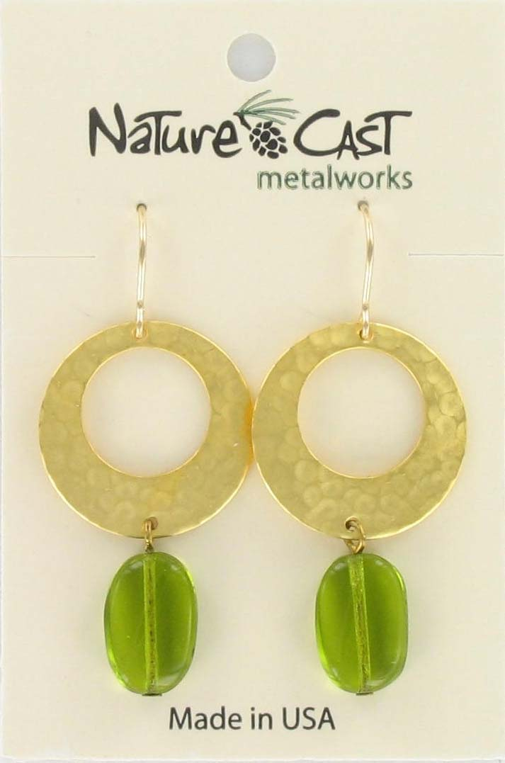Earring dangle uneven hammered circle w/green drop gold plate THUMBNAIL