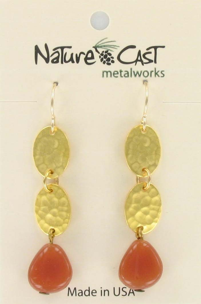 Earring dangle dbl oval with color drop gold plate