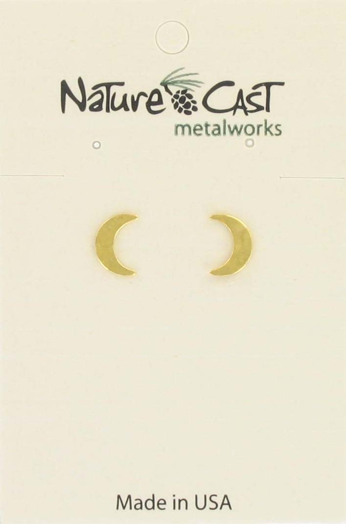 Earring post crescent moon gold plate