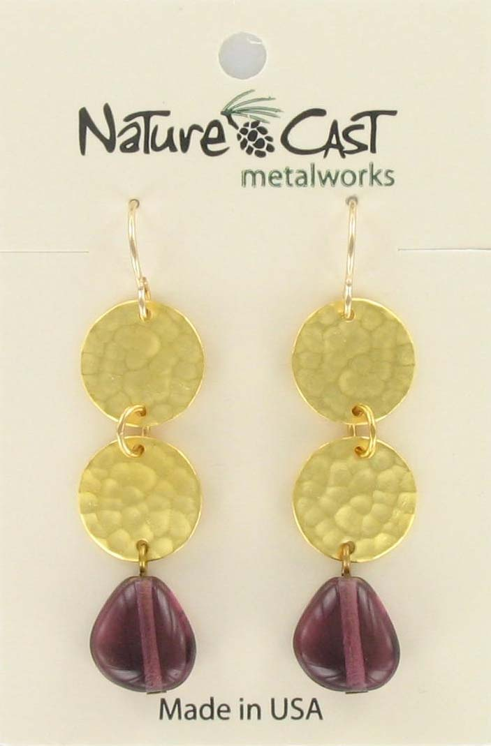Earring dangle dble circles w/ amy drop gold plate