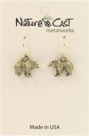 Earring dangle gold tone bear LARGE