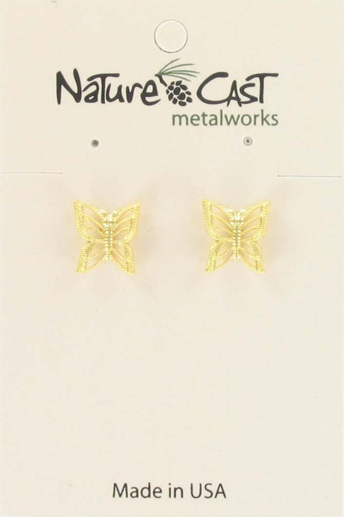 Earring post gold tone filigree butterfly