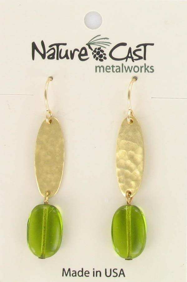Earring dangle hammered oval gold plate with green drop
