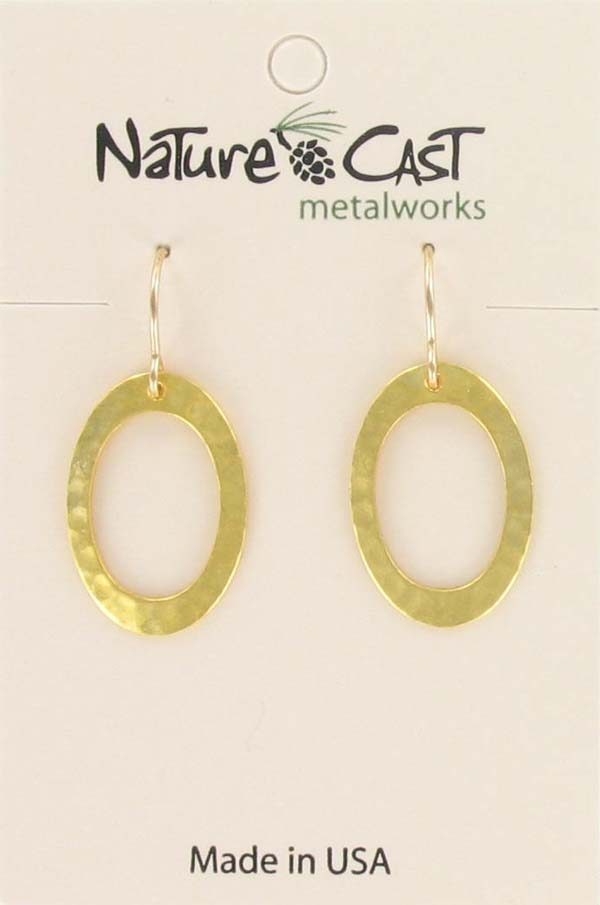 Earring dangle gold small oval hammered hoop