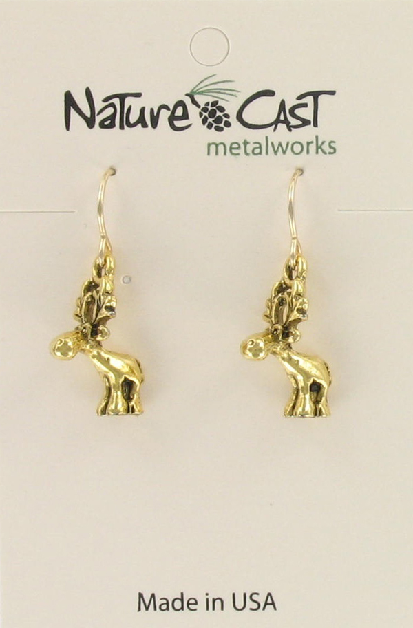 Earring dangle gold tone whimsy moose THUMBNAIL