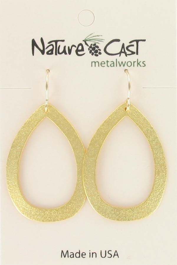 Earring dangle gold plated open teardrop hoop