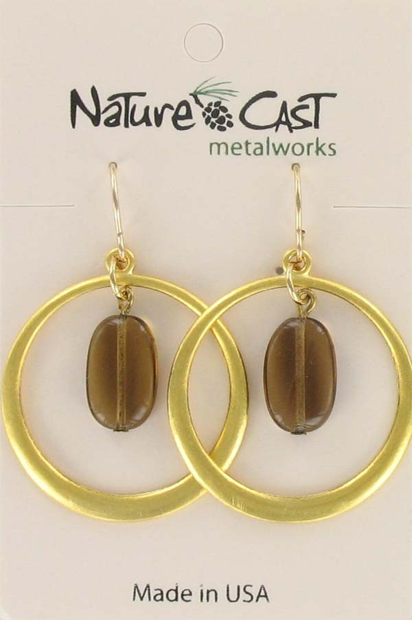 Earring dangle gold hoop with smoky topaz drop