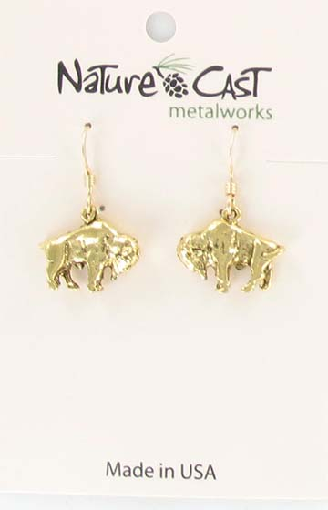Earring dangle gold tone bison