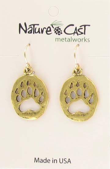 Earring dangle gold tone bear paw MAIN