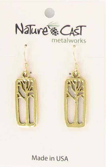 Earring dangle gold tone tree in rectangle