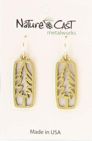 Earring dangle gold tone petro tree in rectangle LARGE