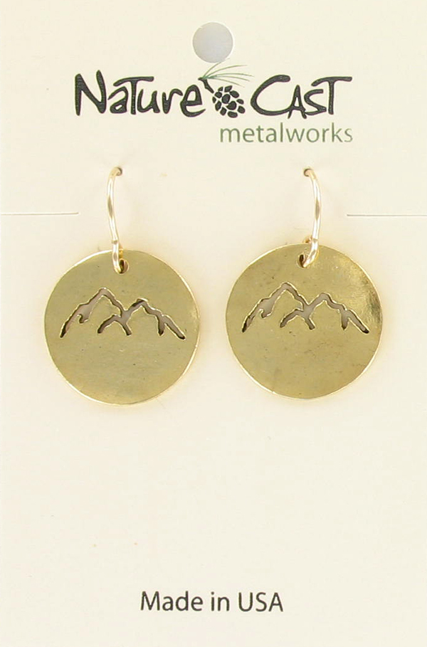 Earring dangle cutout gold mountain peaks THUMBNAIL