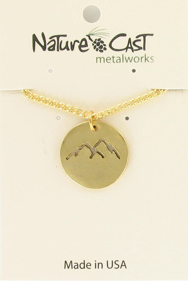 "Pendant cutout gold mountain peaks w/ 18"" chain"