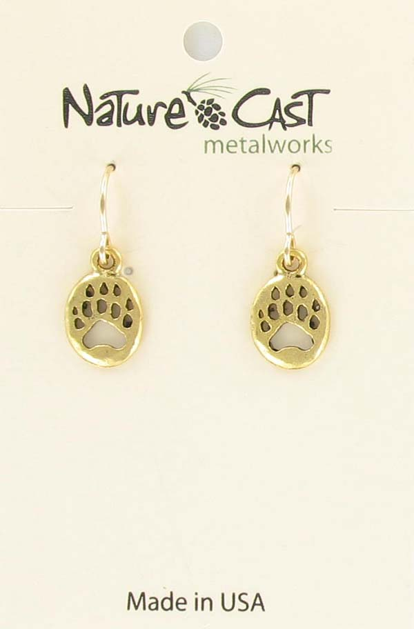 Earring dangle gold small bear paw THUMBNAIL
