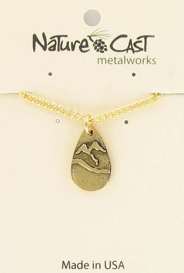 "Pendant gold tone teardrop mountain w/18"" chain_THUMBNAIL"