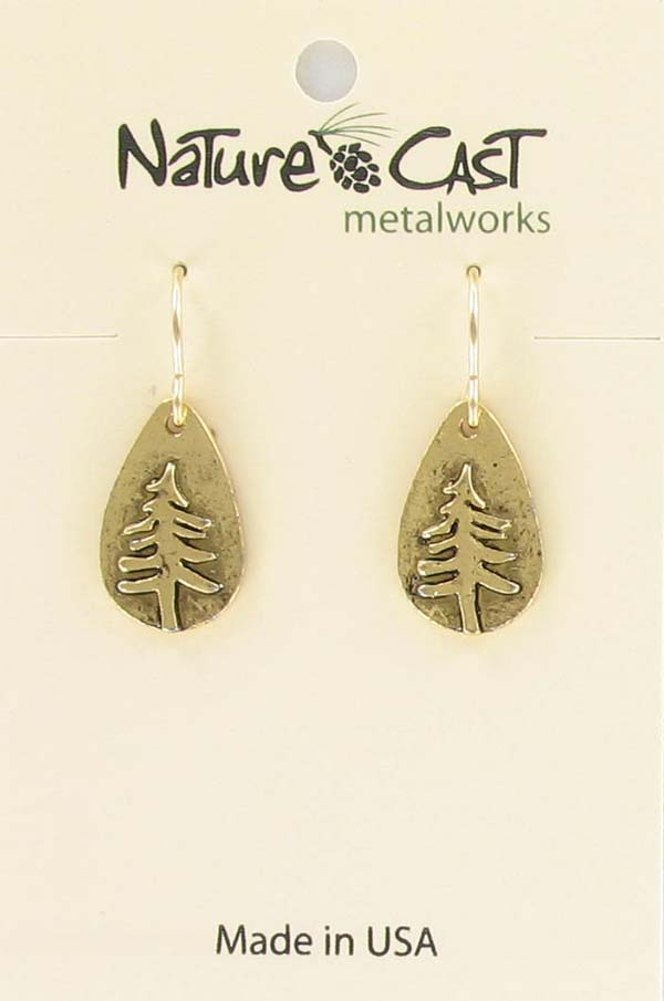 Earring dangle gold tone teardrop pine tree THUMBNAIL