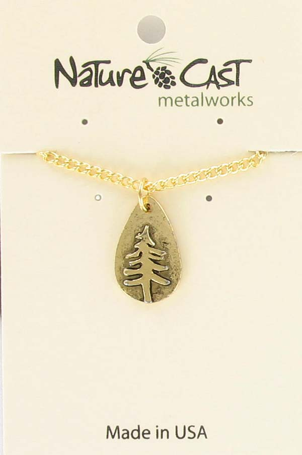 "Pendant gold tone teardrop pine tree w/18"" chain"