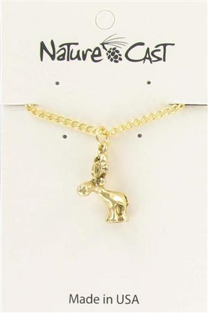 "Pendant gold tone whimsy moose w/ 18"" chain LARGE"