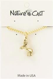 "Pendant gold tone whimsy moose w/ 18"" chain THUMBNAIL"