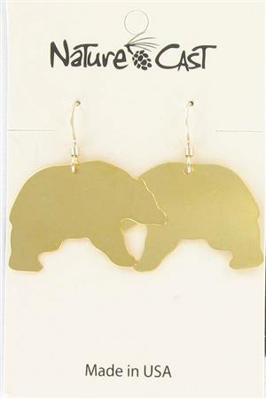 Earring dangle black bear gold LARGE