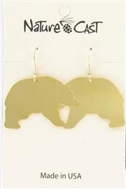 Earring dangle black bear gold THUMBNAIL