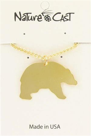 "Pendant gold black bear w / 18"" chain LARGE"