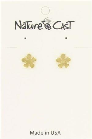 Earring post gold tone flower LARGE