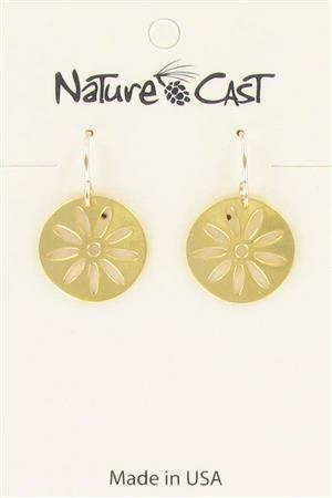 Earring dangle gold tone round daisy LARGE