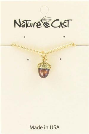 "Pendant gold tone hand painted acorn w/ 18"" chain MAIN"