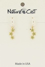 Earring dangle delicate triple star gold plate THUMBNAIL